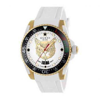 Đồng hồ Gucci Dive mặt mèo nữ màu trắng chính hãng