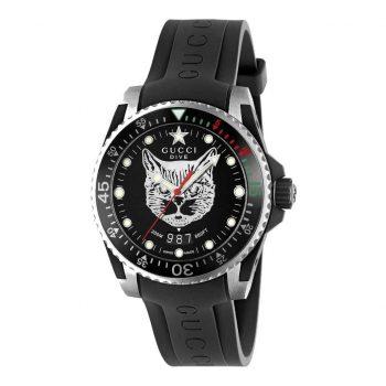 Đồng hồ Gucci Dive mặt mèo màu đen chính hãng