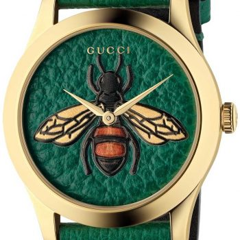 Đồng hồ Gucci ong xanh nữ mặt tròn dây da