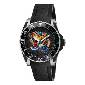 Đồng hồ gucci mặt hổ tròn màu đen