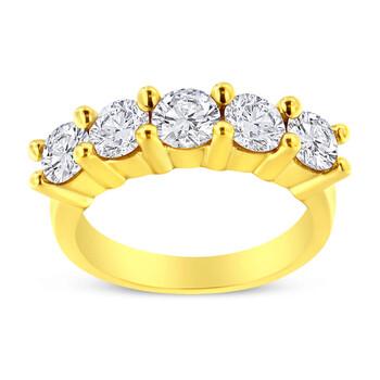 Trang sức Haus Of Brilliance Vàng 14K mạ Bạc 925 2.0 Cttw Shared Prong Set Kim cương 5 Stone Wedding Band Nhẫn (J-K Color