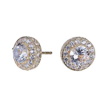Trang sức 925 Couture Vàng 10K Created White Sapphire Halo Stud Bông tai (khuyên tai