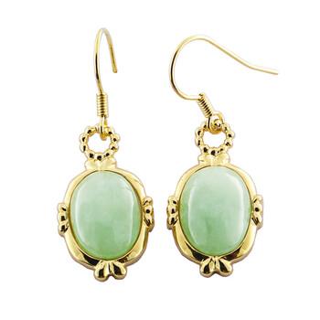 Trang sức 925 Couture Vàng 18K Over Bronze Genuine Green Jade Retro Dangle Bông tai (khuyên tai