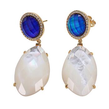 Trang sức 925 Couture Vàng 18K mạ Bronze Genuine Mother of Pearl và Color Changing Crystal Doublet Drop Stud Bông tai (khuyên tai