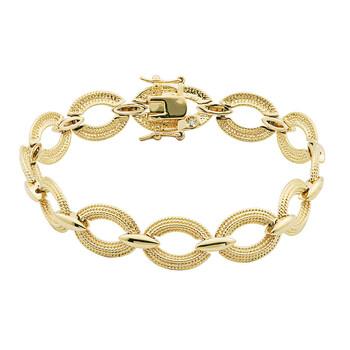 Trang sức 925 Couture Vàng 18K mạ Bronze Rope Texture Oval Link Vòng đeo tay