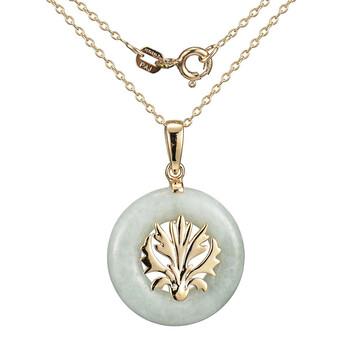 Trang sức 925 Couture Bạc 925 mạ Vàng 18K Genuine Green Jade Open Circle Pendant Dây chuyền (vòng cổ)
