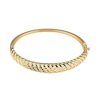 Trang sức 925 Couture Bạc 925 mạ Vàng 18K Twisted Kim cương Cut Texture Hinge Bangle Vòng đeo tay