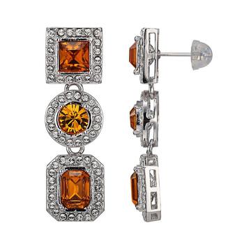 Trang sức 925 Couture Fine Silver và Rhodium mạ Bronze Swarovski Crystal Multi-Shape Drop Stud Bông tai (khuyên tai