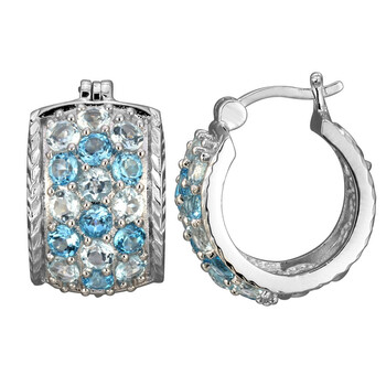 Trang sức 925 Couture Rhodium mạ Bronze Genuine Sky và Swiss Blue Topaz Hoop Bông tai (khuyên tai