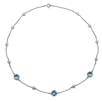 Trang sức 925 Couture Bạc 925 Genuine Blue Topaz và Freshwater Pearl Station Dây chuyền (vòng cổ) chính hãng sale giá rẻ Hà nội TPHCM