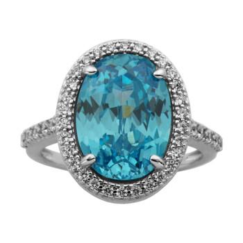 Trang sức 925 Couture Bạc 925 Sky Blue và White Cubic Zirconia Oval Cut Halo Nhẫn