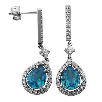 Trang sức 925 Couture Bạc 925 Sky Blue và White Cubic Zirconia Suspended Halo Drop Stud Bông tai (khuyên tai