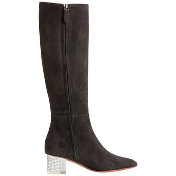 Giày Alaia nữ màu đen 50 Knee Boot Plexi Hl Sue, Brand Size 35 (US Size 5) chính hãng sale giá rẻ