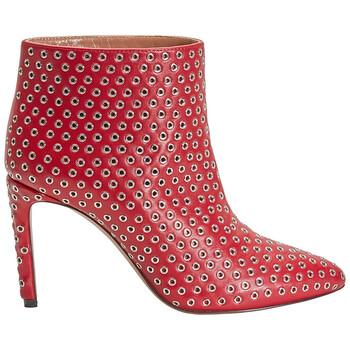 Giày Alaia nữ màu đỏ 90 Boot Allover Rivet Caf chính hãng
