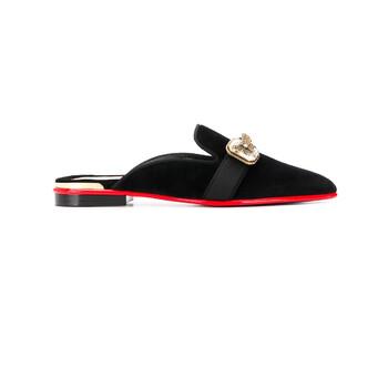Giày Alexander Mcqueen nữ màu đen Embellished Butterfly Mules chính hãng