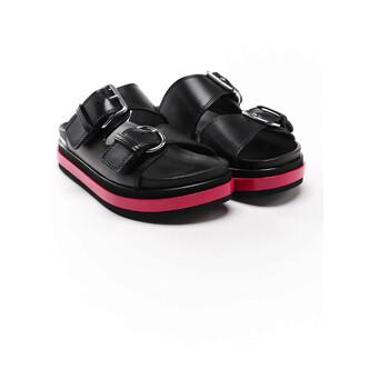 Giày Alexander Mcqueen nữ màu đen Trompe Loeil Slide Sandals chính hãng