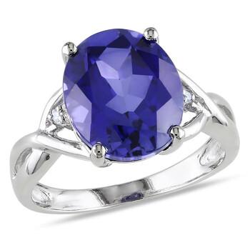 Trang sức Amour 0.01 CT TDW Kim cương và 7 1/2 CT TGW Created Blue Sapphire Cocktail Nhẫn Bạc 925 chính hãng sale giá rẻ Hà nội TPHCM