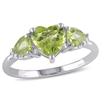 Trang sức Amour 0.02 CT TDW Kim cương và 1 7/8 CT TGW Peridot 3-Stone Nhẫn Bạc 925 chính hãng sale giá rẻ Hà nội TPHCM