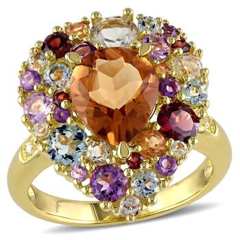 Trang sức Amour 0.02 CT TDW Kim cương và 4 3/4 CT TGW Multi-Đá quý Color Nhẫn Yellow Silver chính hãng sale giá rẻ Hà nội TPHCM