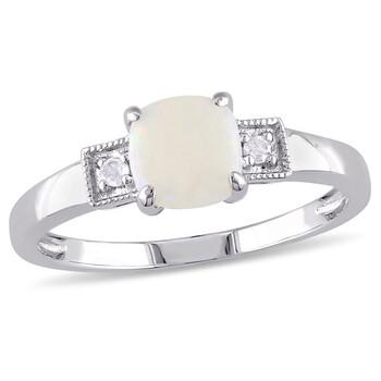 Trang sức Amour 0.04 CT TDW Kim cương và 1/2 CT TGW Opal 3-Stone Nhẫn Bạc 925 chính hãng sale giá rẻ Hà nội TPHCM