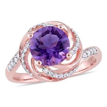Trang sức Amour 0.04 CT TDW Kim cương và 1 5/8 CT TGW Amethyst và White Topaz Halo Nhẫn Pink Silver chính hãng sale giá rẻ Hà nội TPHCM