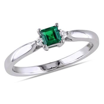 Trang sức Amour 0.04 CT TDW Kim cương và 1/5 CT TGW Created Emerald Nhẫn Bạc 925 chính hãng sale giá rẻ Hà nội TPHCM
