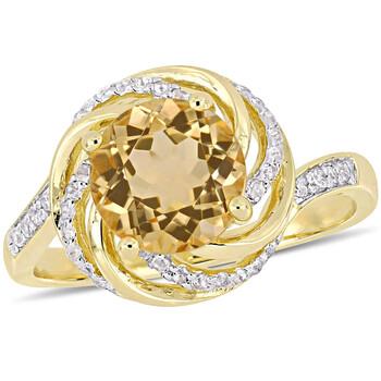 Trang sức Amour 0.04 CT TDW Kim cương và 2 CT TGW Citrine w/White Topaz Nhẫn Yellow Silver chính hãng sale giá rẻ Hà nội TPHCM