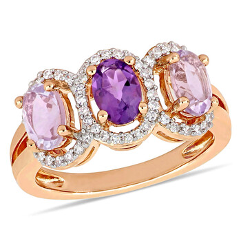 amour 1 5 ct tdw diamond and 1 3 8 ct tgw rose de france w amethyst africa 3 stone ring in pink silver jms008387