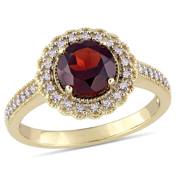 amour 1 8 ct tdw diamond and 1 5 8 ct tgw garnet halo ring in yellow silver jms008342