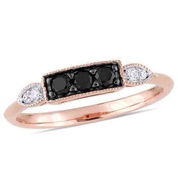 Trang sức Amour Vàng hồng 10K 1/4 CT TDW Đen và Kim cương trắng Nhẫn chính hãng sale giá rẻ Hà nội TPHCM