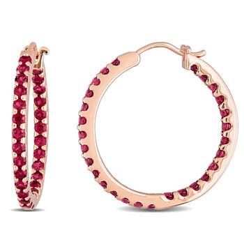 Trang sức Amour Vàng hồng 10K 2 1/4 CT TGW Garnet Hoop Bông tai (khuyên tai