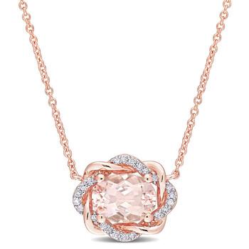 Trang sức Amour Vàng hồng 10K 1 1/7 CT TGW Morganite và 1/10 CT Kim cương TW Interlaced Halo Dây chuyền (vòng cổ) chính hãng sale giá rẻ Hà nội TPHCM