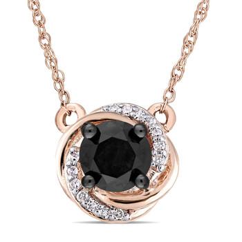 Trang sức Amour Vàng hồng 10K 1/2 CT TW Đen & Trắng Kim cương Vintage Pendant với Chain chính hãng sale giá rẻ Hà nội TPHCM