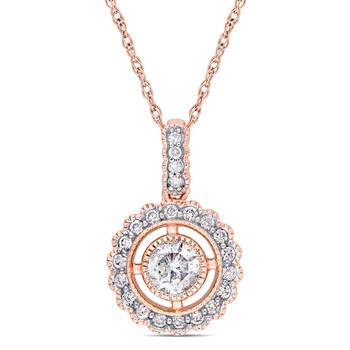 Trang sức Amour Vàng hồng 10K 1/2 CT TW Kim cương Vintage Halo Pendant với Chain chính hãng sale giá rẻ Hà nội TPHCM
