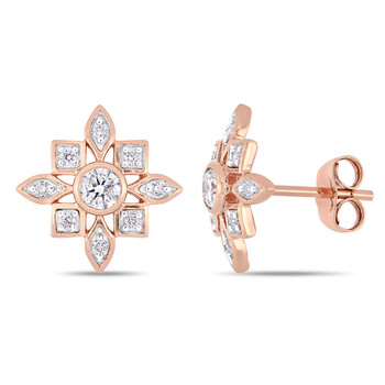 amour 10k rose gold 1 3 ct tdw diamond artisanal stud earrings jms007020
