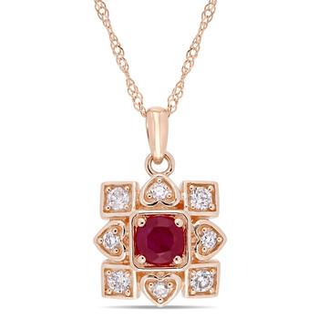 Trang sức Amour Vàng hồng 10K 1/3 CT TGW Ruby và 1/5 CT TW Kim cương Artisanal Pendant với Chain chính hãng sale giảm giá sỉ rẻ nhất ở Hà nội TPHCM
