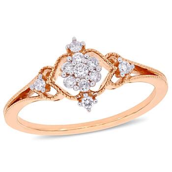 Trang sức Amour Vàng hồng 10K 1/6 CT TDW Kim cương Cluster Nhẫn chính hãng sale giá rẻ Hà nội TPHCM