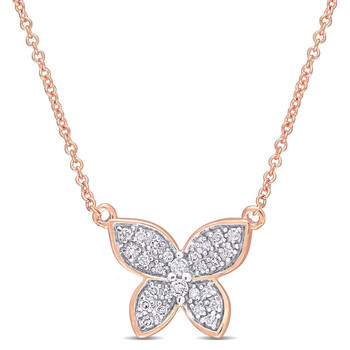 amour 10k rose gold 1 8 ct tdw diamond butterfly pendant with chain jms007455