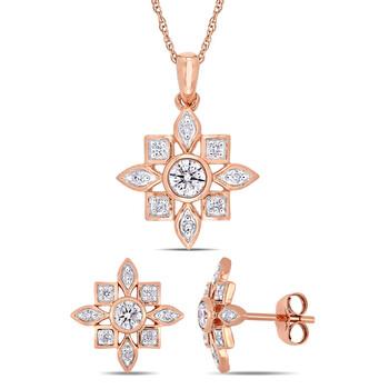 Trang sức Amour Vàng hồng 10K 2-piece Set of 5/8 Ct Tw Kim cương Artisanal Stud Bông tai (khuyên tai