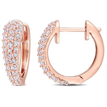 Trang sức Amour Vàng hồng 10K 4/5 CT TGW White Sapphire Hoop Bông tai (khuyên tai, hoa tai) chính hãng sale giảm giá sỉ rẻ nhất ở Hà nội TPHCM