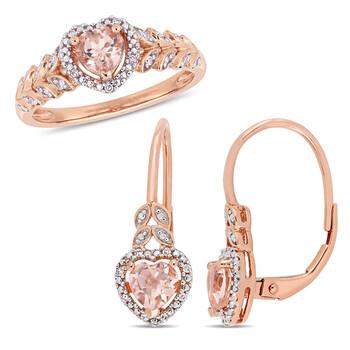 Trang sức Amour Vàng hồng 10K Heart-Cut Morganite và Kim cương Halo Nhẫn đính hôn Size 10 và Bông tai (khuyên tai