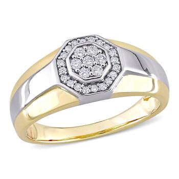Trang sức Amour 10k Two-Tone Gold 1/4 CT TDW Kim cương Octagonal Nam Nhẫn chính hãng sale giá rẻ Hà nội TPHCM