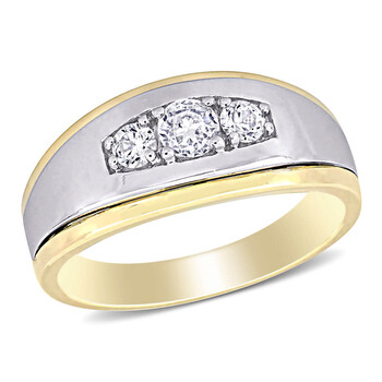 amour 10k two tone gold 5 8 ct tgw created white sapphire 3 stone mens ring jms006950