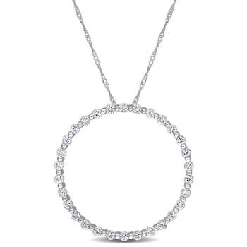Trang sức Amour Vàng trắng 10K 1 1/2 CT TGW White Sapphire Circle of Life Pendant với Chain chính hãng sale giá rẻ Hà nội TPHCM