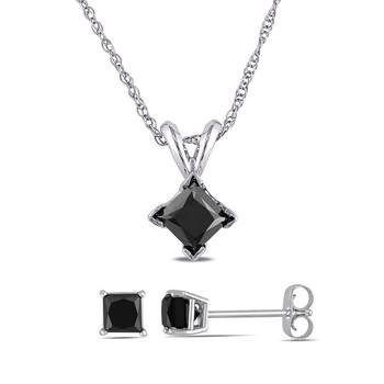 Trang sức Amour Vàng trắng 10K 1 1/2 CT TW Đen Princess Cut Kim cương Solitaire Pendant với Chain và Bông tai (khuyên tai
