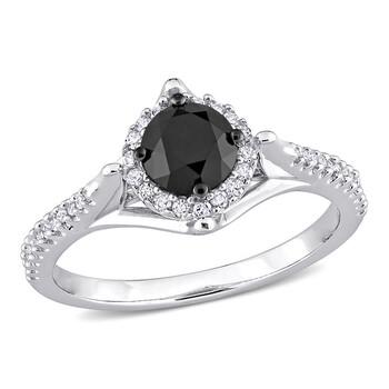 Trang sức Amour Vàng trắng 10K 1 1/5 CT TW Đen và Kim cương trắng Nhẫn đính hôn chính hãng sale giá rẻ Hà nội TPHCM