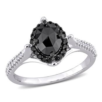 Trang sức Amour Vàng trắng 10K 1 1/6 CT TW Đen Oval và Kim cương trắng Nhẫn đính hôn chính hãng sale giá rẻ Hà nội TPHCM