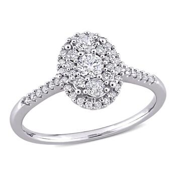 Trang sức Amour Vàng trắng 10K 1/2 CT TDW Kim cương Halo Nhẫn chính hãng sale giá rẻ Hà nội TPHCM