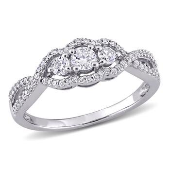 Trang sức Amour Vàng trắng 10K 1/2 CT TW Kim cương 3-Stone Infinity Nhẫn chính hãng sale giá rẻ Hà nội TPHCM