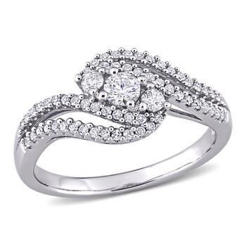 trang sức Amour Vàng trắng 10K 1/2 CT TW Kim cương Bypass Nhẫn chính hãng sale giá rẻ tại Hà nội TPHCM